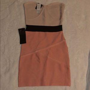 Bebe strapless mini bandage dress